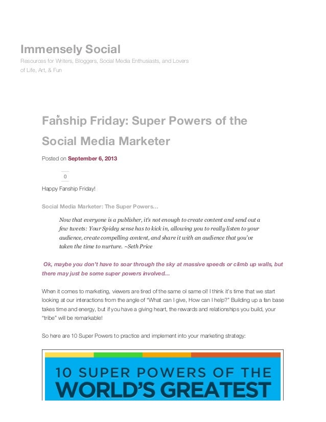 Fanship friday: super powers of the social media marketer immensely social