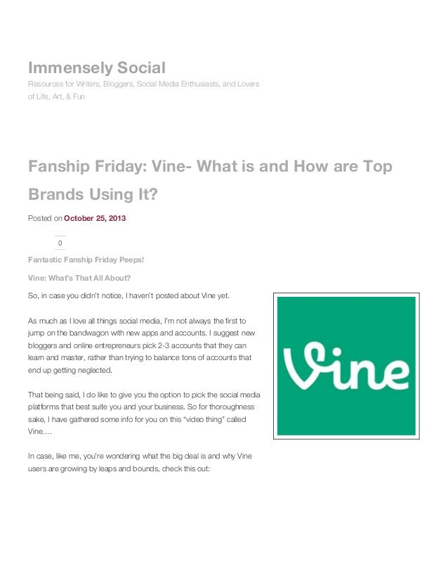 Immensely Social Resources for Writers, Bloggers, Social Media Enthusiasts, and Lovers of Life, Art, & Fun  Fanship Friday...