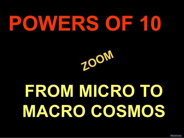 POWERS OF 10              M          ZOO     FROM MICRO TO     MACRO COSMOS.                     Nidokidos