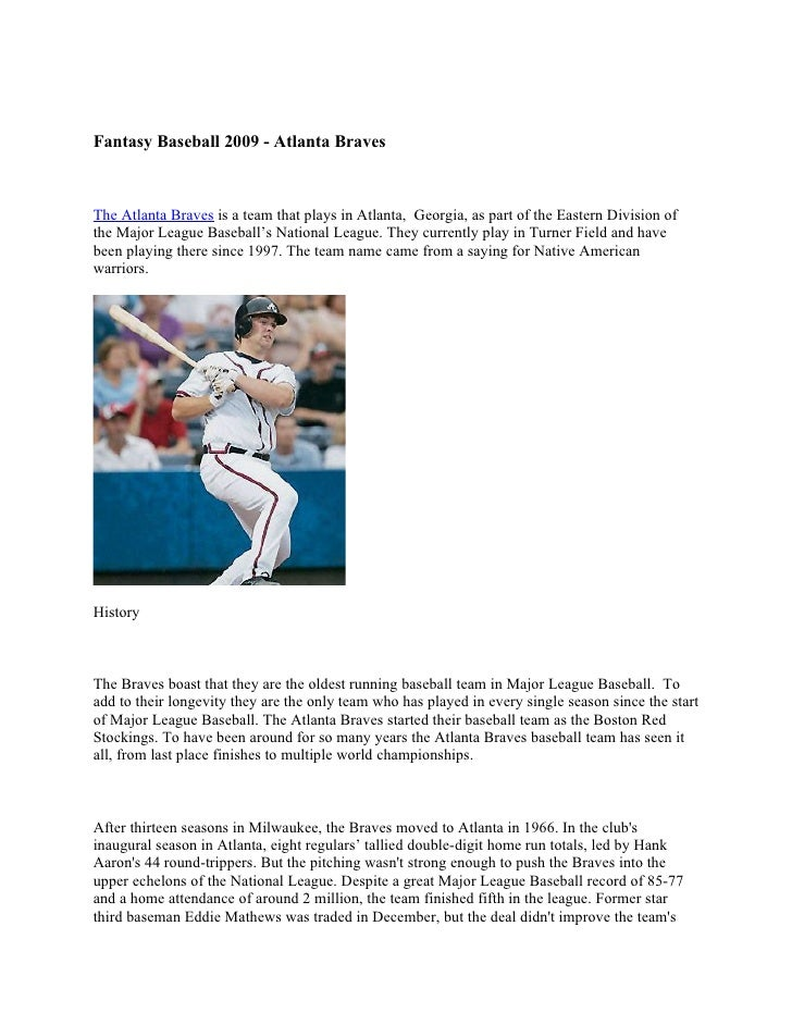 Fantasy Baseball 2009 - Atlanta Braves