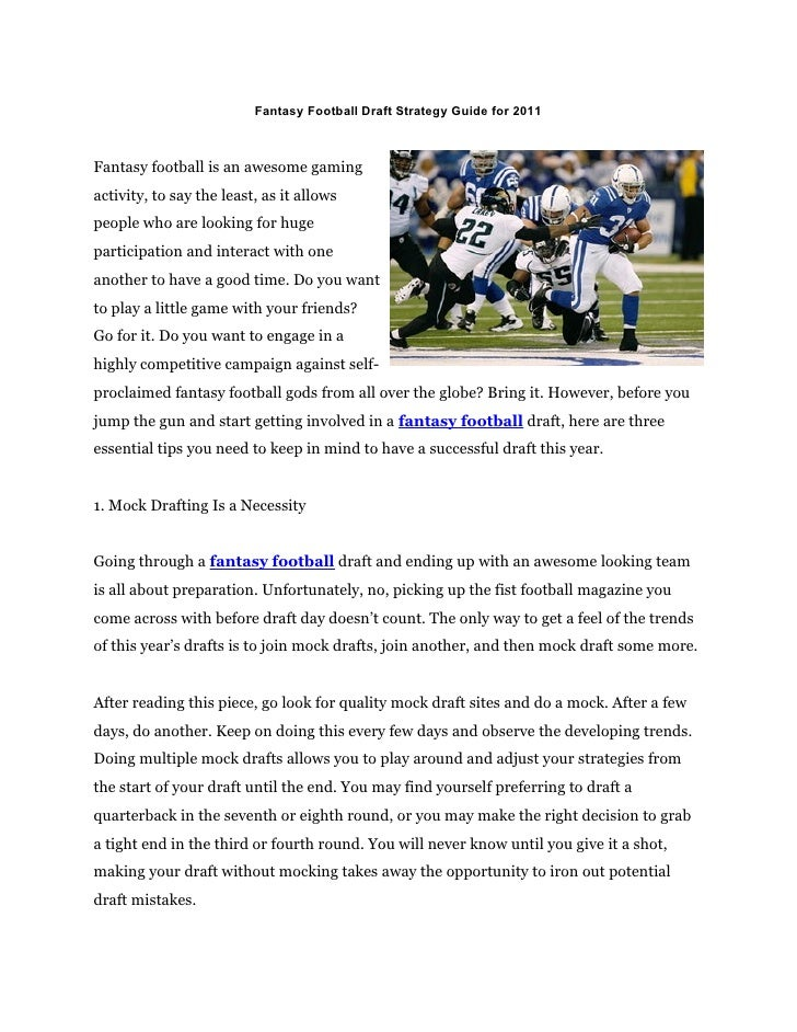 Fantasy Football Draft Strategy Guide for 2011