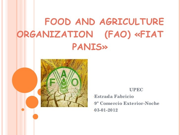 FOOD AND AGRICULTURE ORGANIZATION  (FAO) «FIAT PANIS» <ul><li>UPEC </li></ul><ul><li>Estrada Fabricio </li></ul><ul><li>9º...