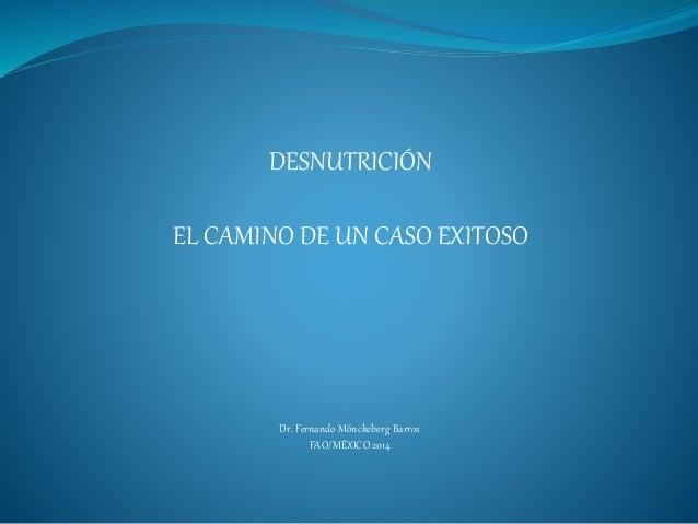 DESNUTRICIÓN  EL CAMINO DE UN CASO EXITOSO  Dr. Fernando Mönckeberg Barros  FAO/MÉXICO 2014