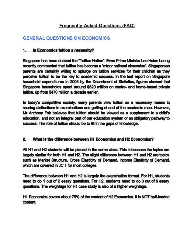A level h2 economics essay outline