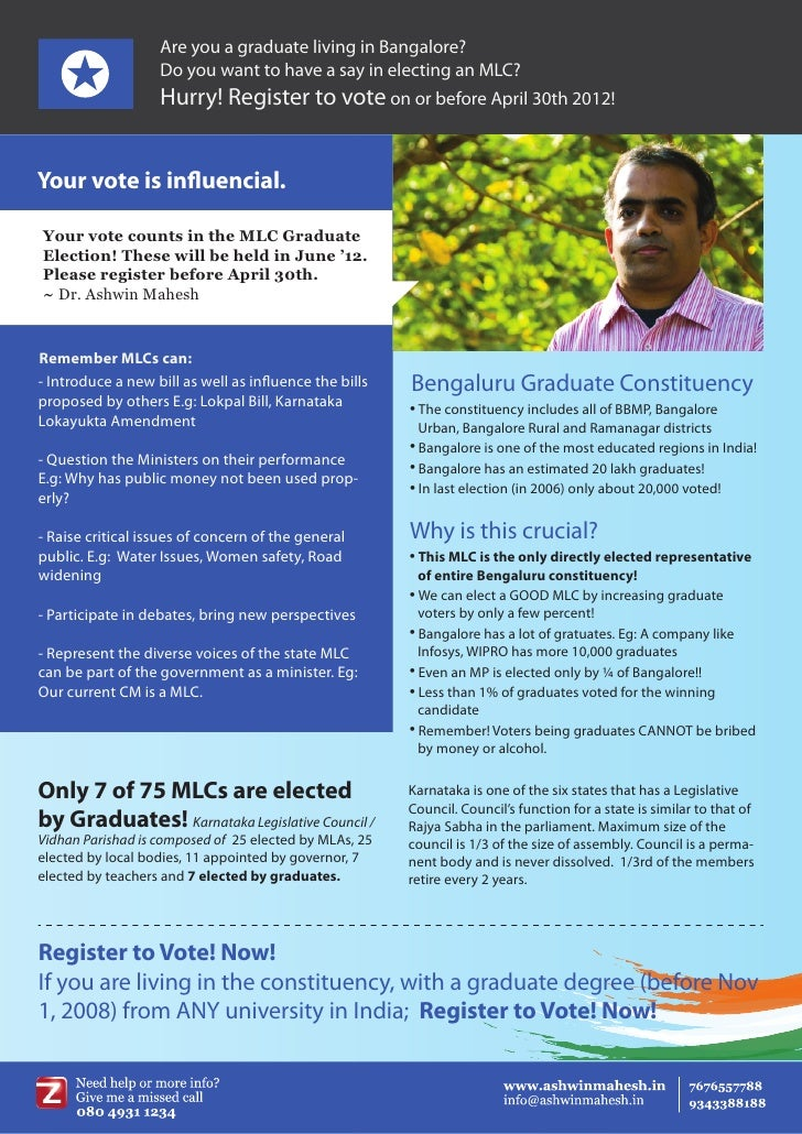 Are you a graduate living in Bangalore?                   Do you want to have a say in electing an MLC?                   ...
