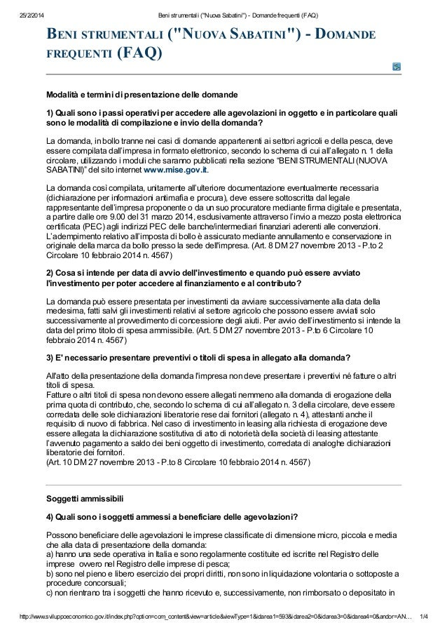 "25/2/2014  Beni strumentali (""Nuova Sabatini"") - Domande frequenti (FAQ)  BENI STRUMENTALI (""NUOVA SABATINI"") - DOMANDE FR..."