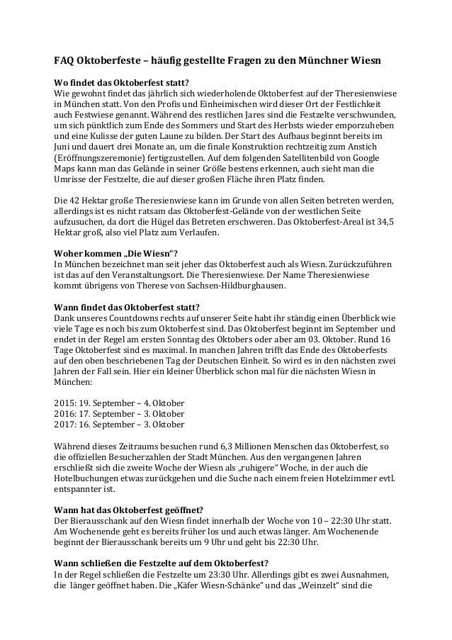 FAQ  Oktoberfeste  –  häufig  gestellte  Fragen  zu  den  Münchner  Wiesn      Wo  findet  das ...