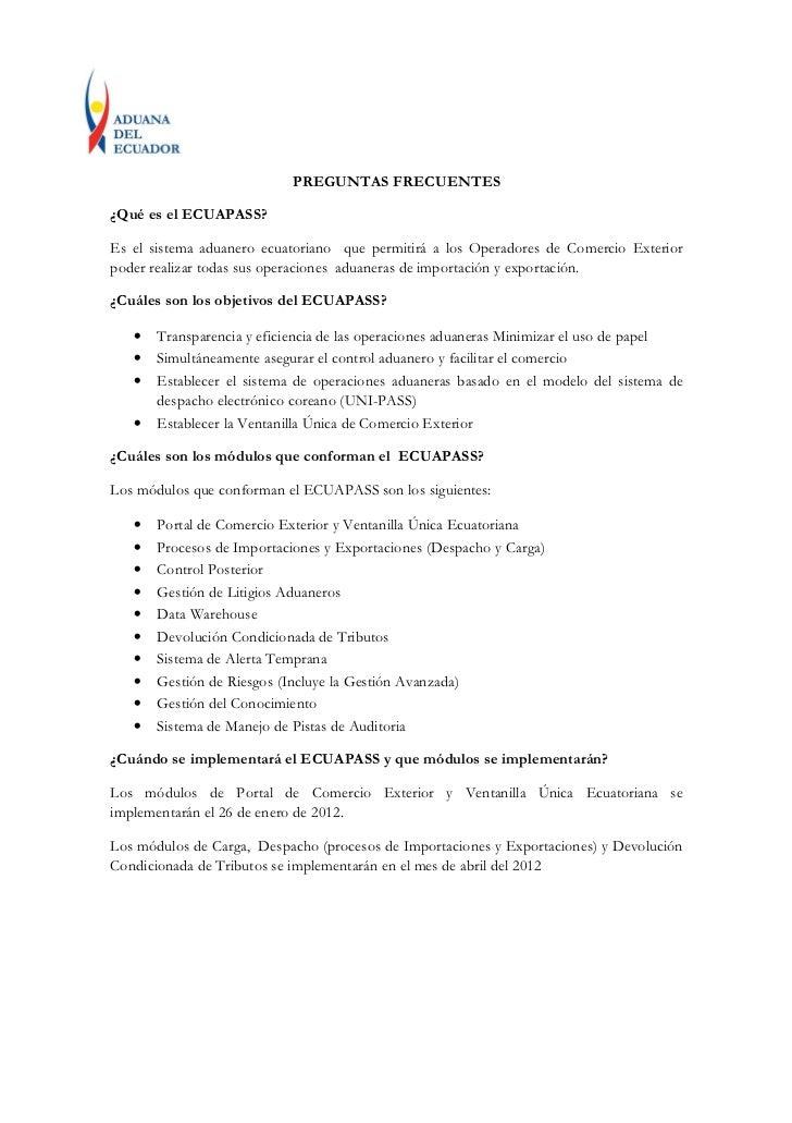 Preguntas Frecuentes de ECUAPASS.