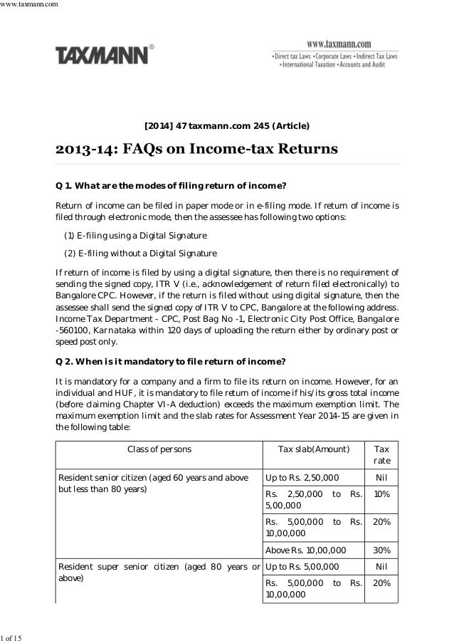 FAQs on Income Tax Returns