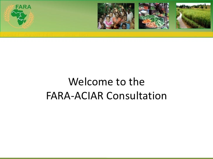 Welcome to the FARA-ACIAR Consultation