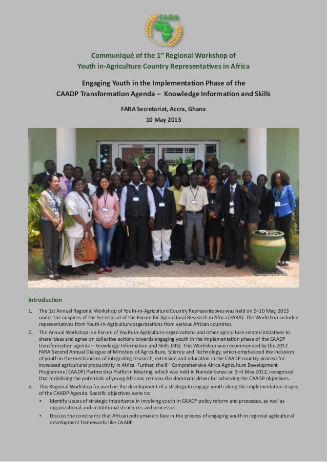 Communiqué of the 1st Regional Workshop of Youth in-Agriculture Country Representatives in Africa Engaging Youth in the Im...