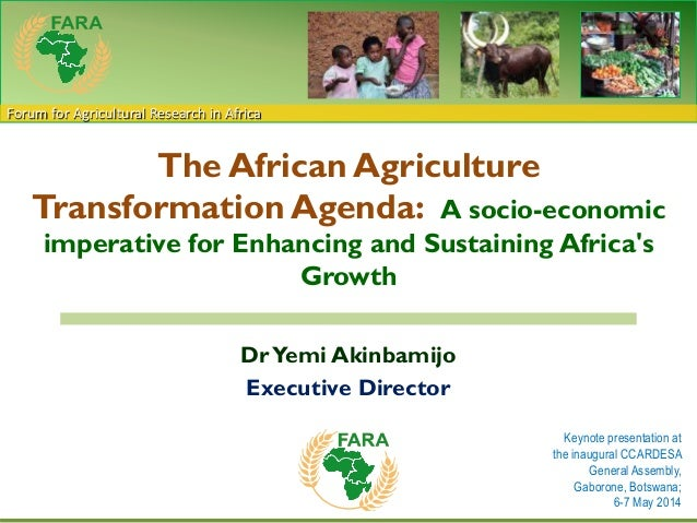 Forum for Agricultural Research in Africa The African Agriculture Transformation Agenda: A socio-economic imperative for E...