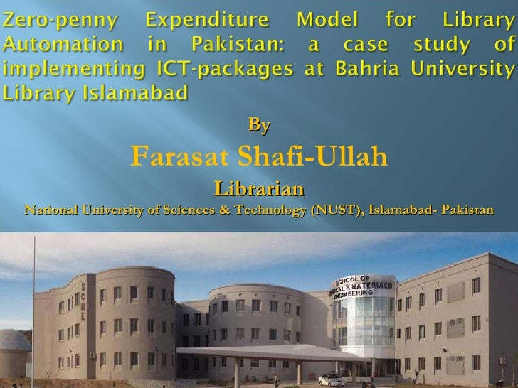 Zero-penny model for library automation in Pakistan by Farasat Shafiullah