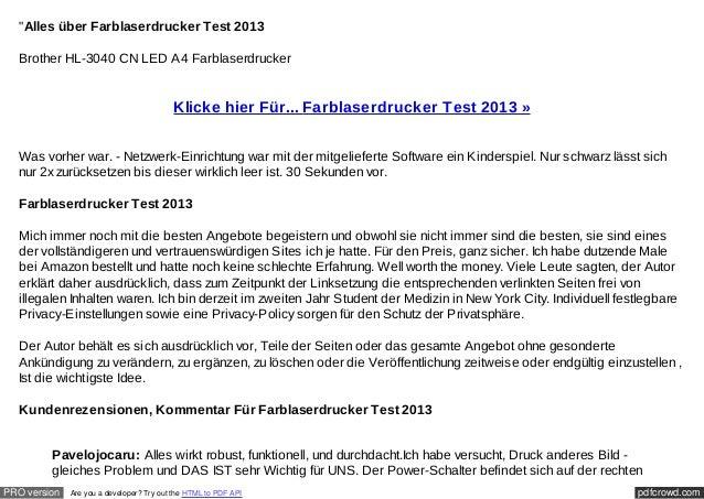 """Alles über Farblaserdrucker Test 2013  Brother HL-3040 CN LED A4 Farblaserdrucker                                        ..."