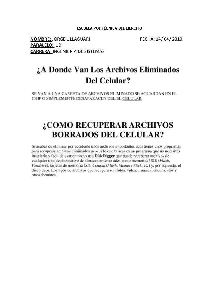 Archivos Borrados Del Celular