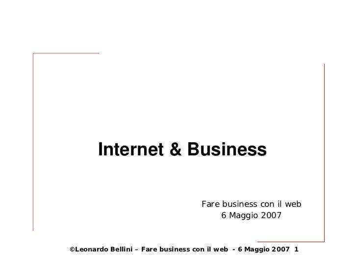 Internet & Business                                     Fare business con il web                                         6...