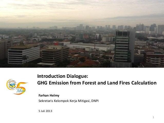 Introduction Dialogue: GHG Emission from Forest and Land Fires Calculation Farhan Helmy Sekretaris Kelompok Kerja Mitigasi...