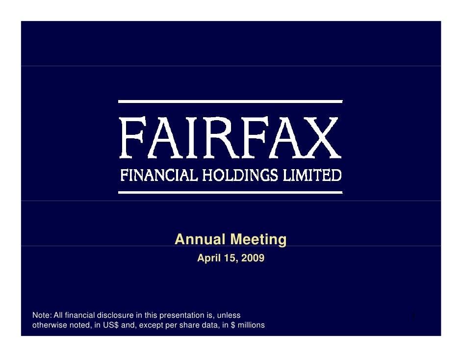 Farifax Financial 2008-2009 Presentation