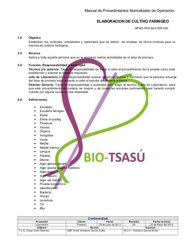 Manual de Procedimientos Normalizado de Operación. ELABORACION DE CULTIVO FARINGEO MPNO-PRO-BACTER-065 1.0 Objetivo Establ...