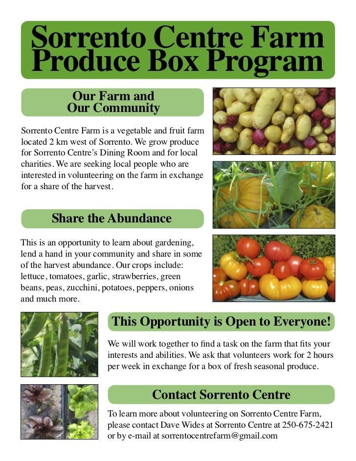 Sorrento Centre Farm  Produce Box Program             Our Farm and            Our CommunitySorrento Centre Farm is a veget...