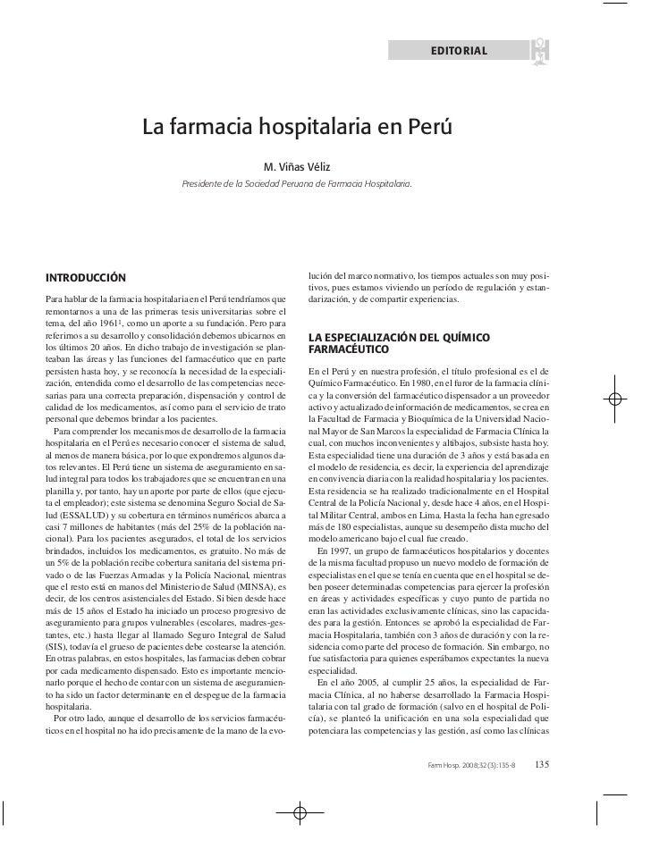 EDITORIAL                          La farmacia hospitalaria en Perú                                                       ...