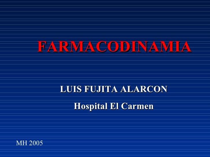 FARMACODINAMIA LUIS FUJITA ALARCON Hospital El Carmen MH 2005