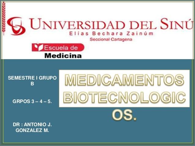 SEMESTRE I GRUPO       B GRPOS 3 – 4 – 5. DR : ANTONIO J.  GONZALEZ M.