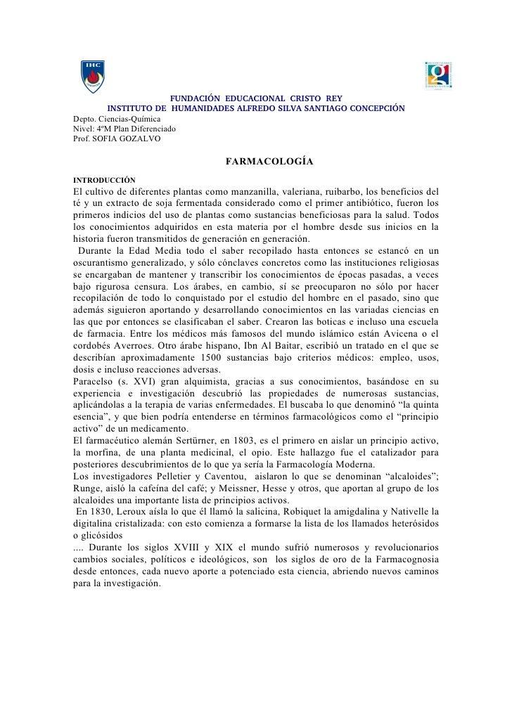 FUNDACIÓNEDUCACIONALCRISTOREY          INSTITUTODEHUMANIDADESALFREDOSILVASANTIAGOCONCEPCIÓN Depto. Ciencias-Q...