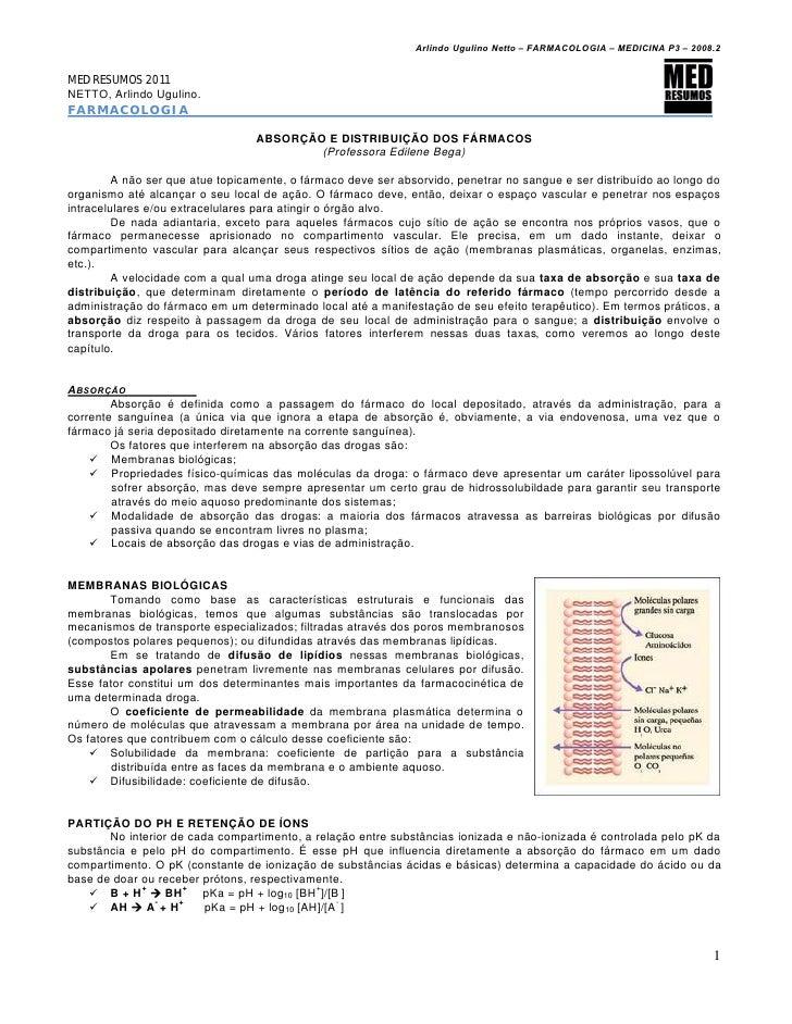 Arlindo Ugulino Netto – FARMACOLOGIA – MEDICINA P3 – 2008.2MED RESUMOS 2011NETTO, Arlindo Ugulino.FARMACOLOGIA            ...