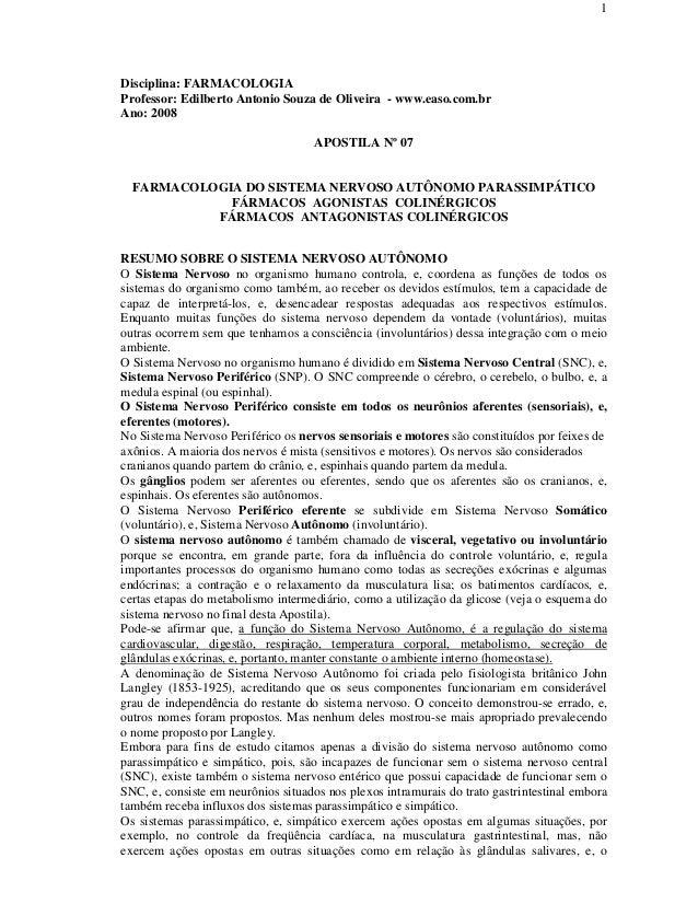1Disciplina: FARMACOLOGIAProfessor: Edilberto Antonio Souza de Oliveira - www.easo.com.brAno: 2008APOSTILA Nº 07FARMACOLOG...