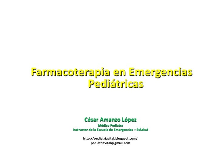 Farmacoterapia en emergencias pediátricas 2011 publicación