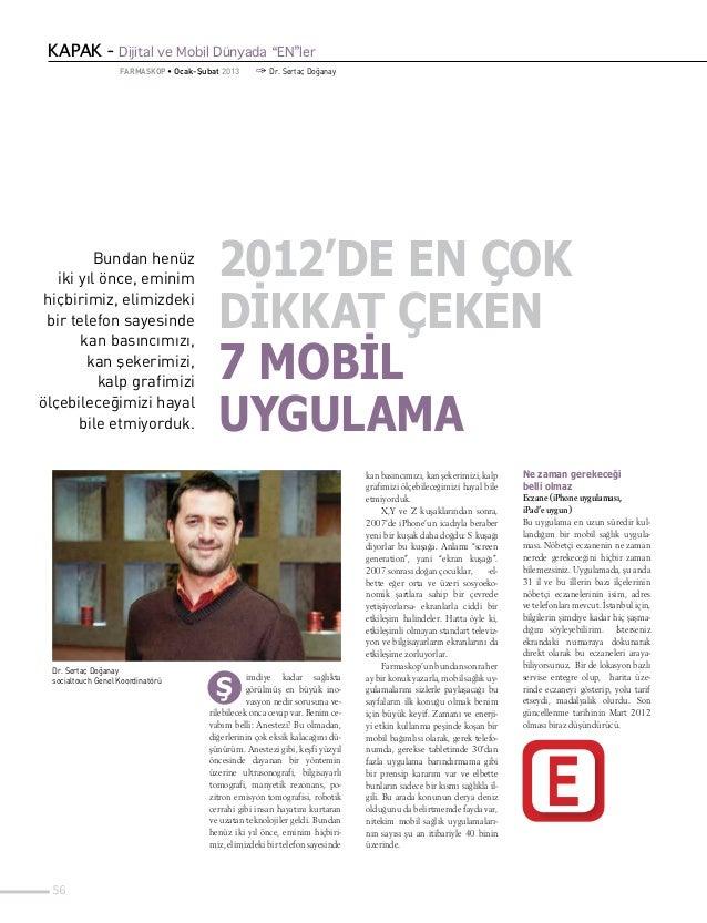 """KAPAK - Dijital ve Mobil Dünyada """"EN""""ler                    FARMASKOP • Ocak-Şubat 2013      1 Dr. Sertaç Doğanay         ..."""