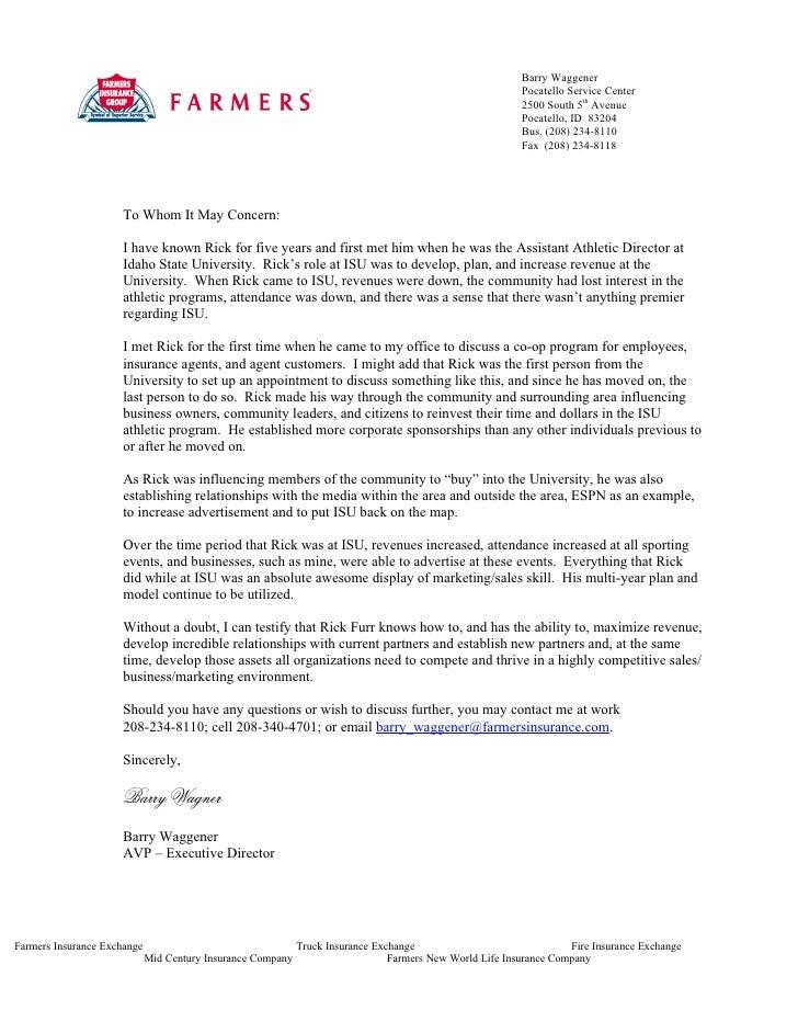 Farmers Insurance Letter