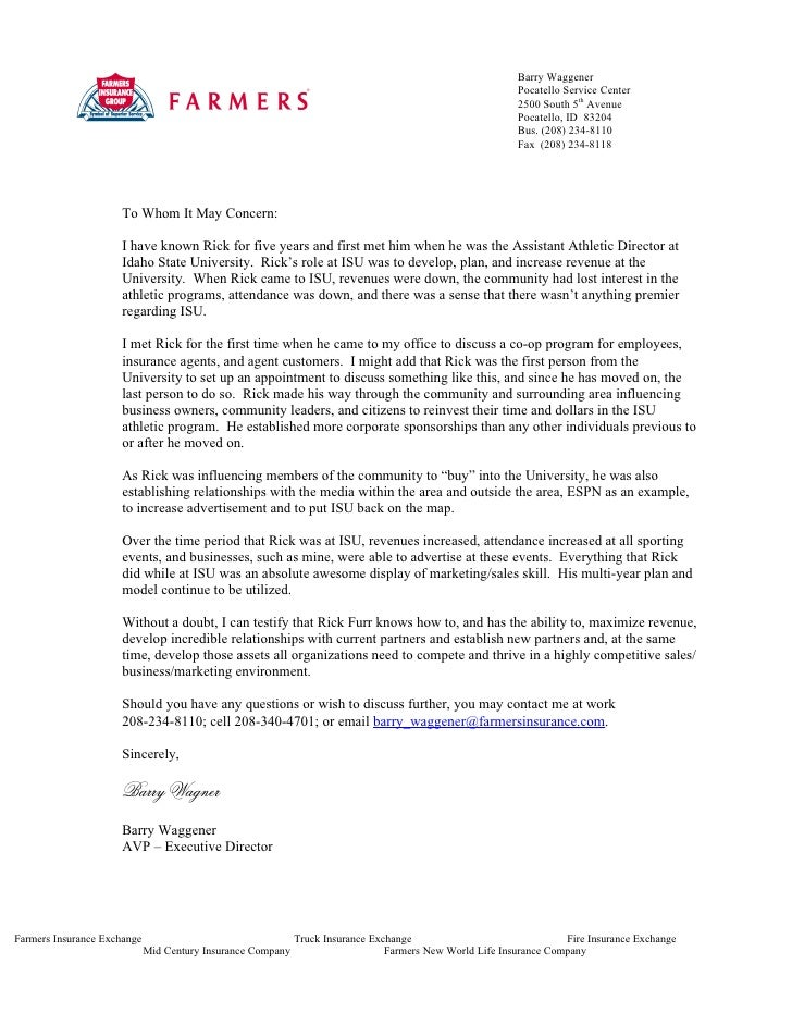 Farmers insurance letter for Insurance marketing letters