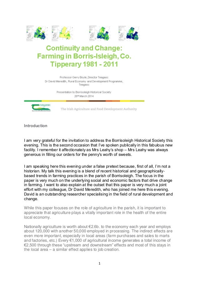 Continuity and Change in Agriculture in the Parish of Borrisoleigh