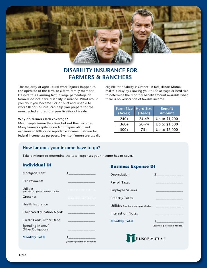 DiSABiliTy inSurAnce For                                                FArMerS & rAncHerS The majority of agricultural wo...