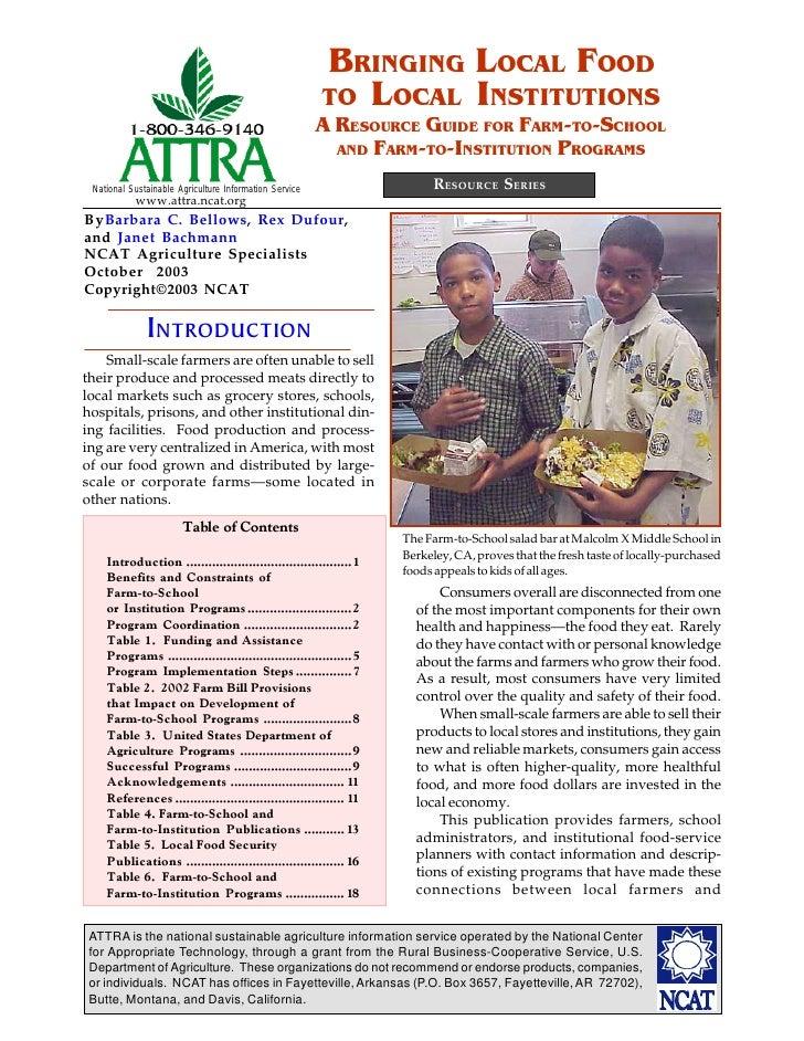 Bringing Local Food to Local Institutions
