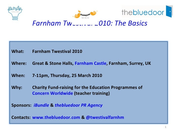 2010 Farnham Twestival: The Basics What:  2010 Farnham Twestival Where:  Great & Stone Halls,  Farnham Castle , Farnham, S...
