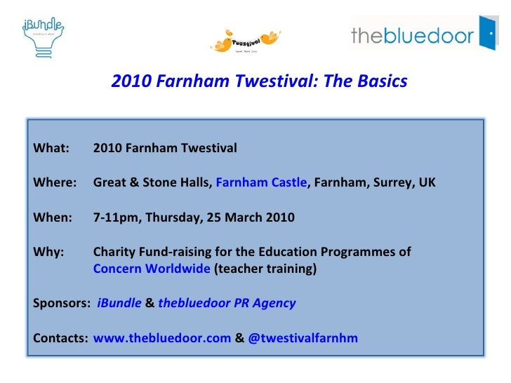 2010 Farnham Twestival: The Basics What:  2010 Farnham Twestival Where:  Great & Stone Halls,  Farnham Castle , Farnham, S...
