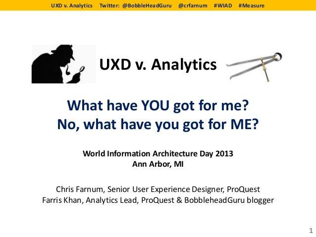 UXD v. Analytics   Twitter: @BobbleHeadGuru   @crfarnum   #WIAD   #Measure                     UXD v. Analytics     What h...