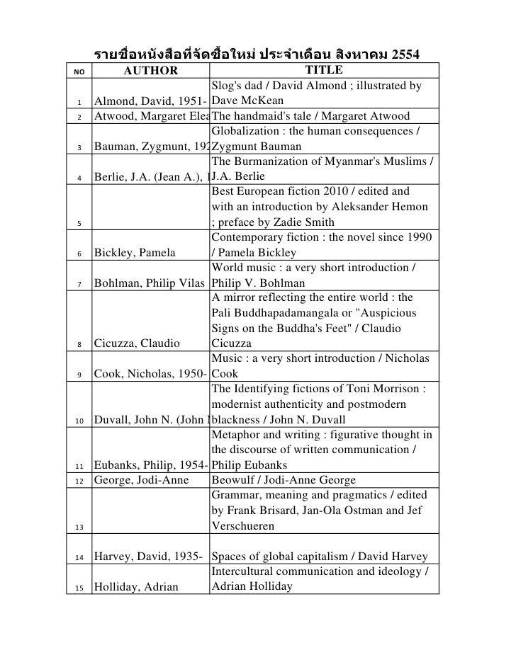 รายชื่อหนังสือที่จดซือใหม่ ประจาเดือน สิงหาคม 2554                       ั ้NO         AUTHOR                             ...