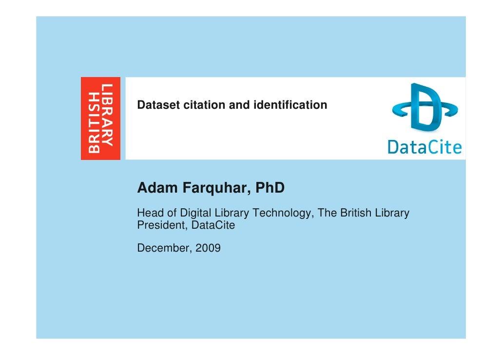 Dataset Citation and Identification