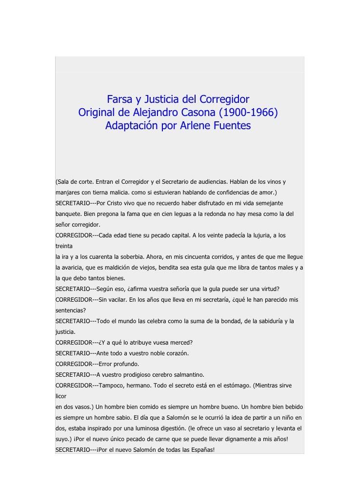 Farsa y Justicia del Corregidor             Original de Alejandro Casona (1900-1966)                   Adaptación por Arle...