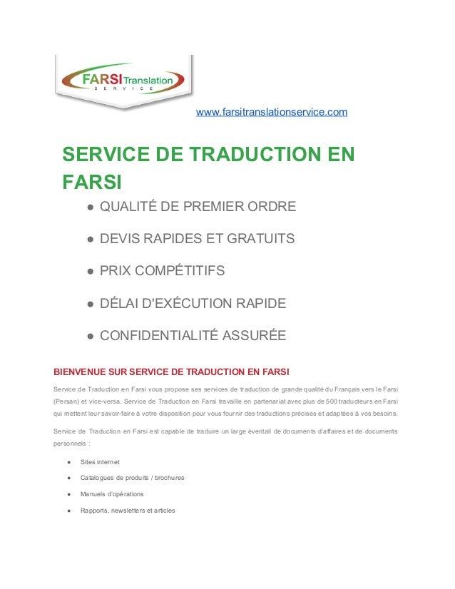 www.farsitranslationservice.com  SERVICEDETRADUCTIONEN FARSI ● QUALITÉDEPREMIERORDRE ● DEVISRAPIDESETGRATUIT...