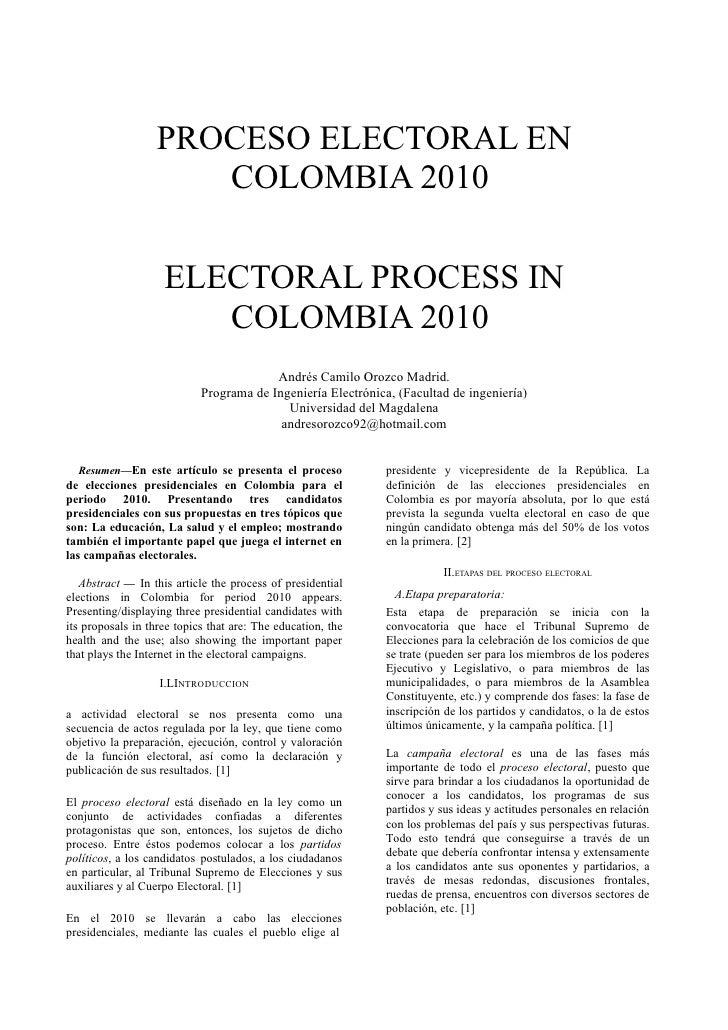 PROCESO ELECTORAL EN                       COLOMBIA 2010                      ELECTORAL PROCESS IN                        ...