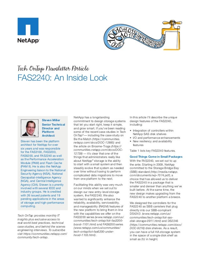 Tech OnTap Newsletter ArticleFAS2240: An Inside Look                                        NetApp has a longstanding     ...