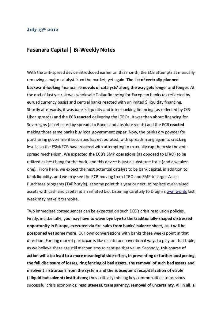 Fasanara Capital Bi-Weekly Notes - July 13th 2012