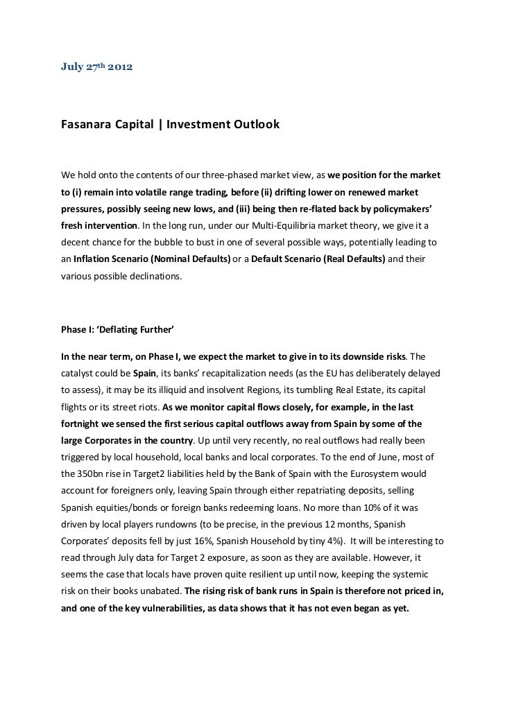 Fasanara Capital Bi-Weekly Notes - July 27th 2012
