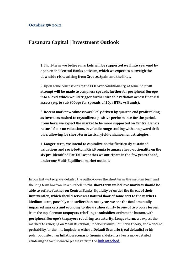 Fasanara Capital | Investment Outlook | October 5th 2012