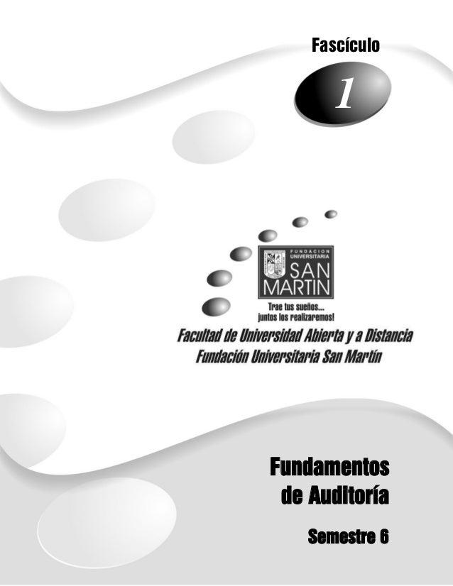 Fascículo  1  1  Fundamentos de Auditoría Semestre 6